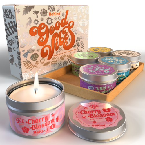 1 BeKind Good Vibes 6 Scented Candles Set