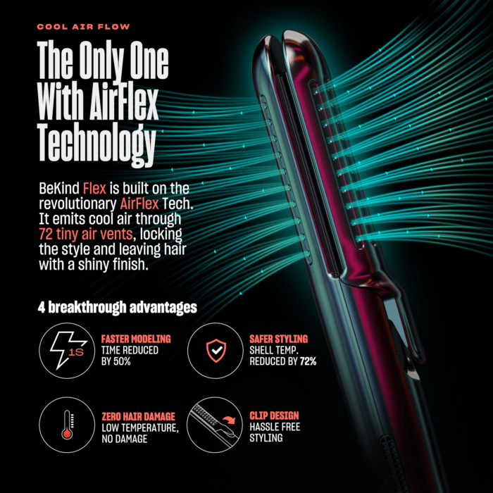 2 1 BeKind Flex 2-IN-1 360° Hair Styler Flat Iron, Straightener and Curler for All Hair Styles