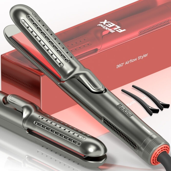 main listing pic angle BeKind Flex 2-IN-1 360° Hair Styler Flat Iron, Straightener and Curler for All Hair Styles