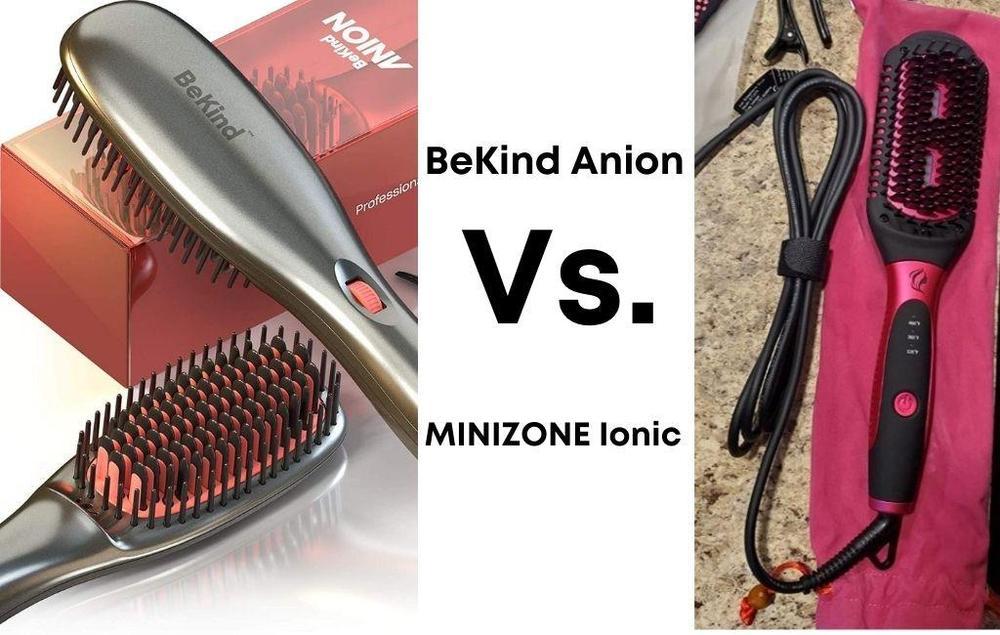 BeKind Anion Hair Straightener Brush Vs. MINIZONE Hair Straightener Brush 2 in 1 Ionic