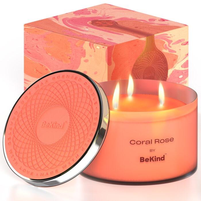 01 2 Bekind Large Jar Scented Candles - 14oz (Coral Rose)
