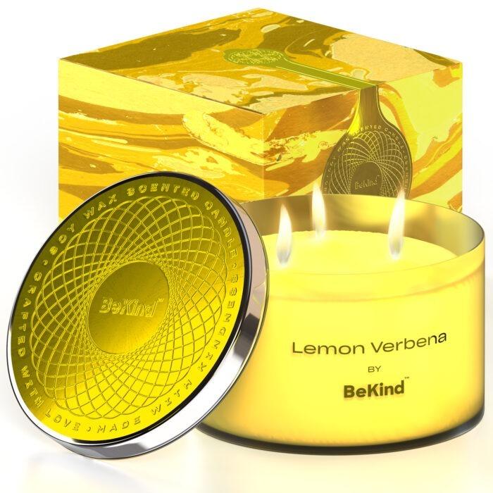 01 4 Bekind Large Jar Scented Candles - 14oz (Lemon Verbena)