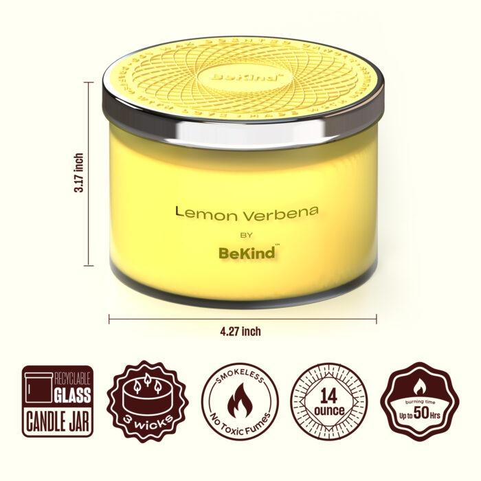 02 3 Bekind Large Jar Scented Candles - 14oz (Lemon Verbena)