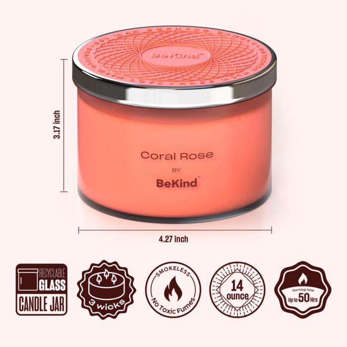 02 Bekind Large Jar Scented Candles - 14oz (Coral Rose)