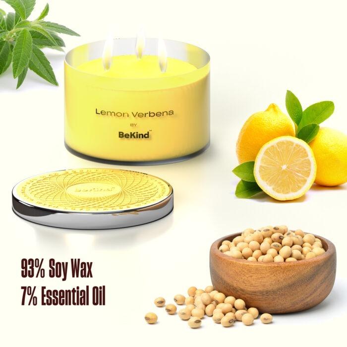 03 3 Bekind Large Jar Scented Candles - 14oz (Lemon Verbena)