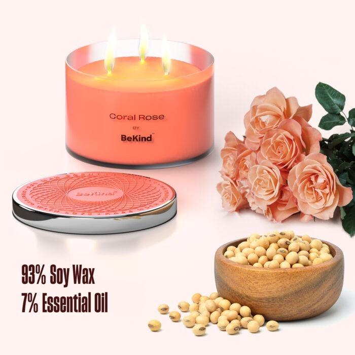 03 Bekind Large Jar Scented Candles - 14oz (Coral Rose)