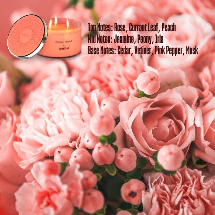 04 Bekind Large Jar Scented Candles - 14oz (Coral Rose)